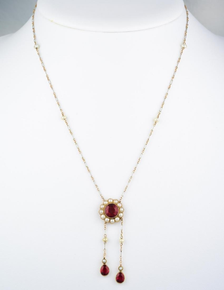 Antique Ruby and Pearl Necklace - 3