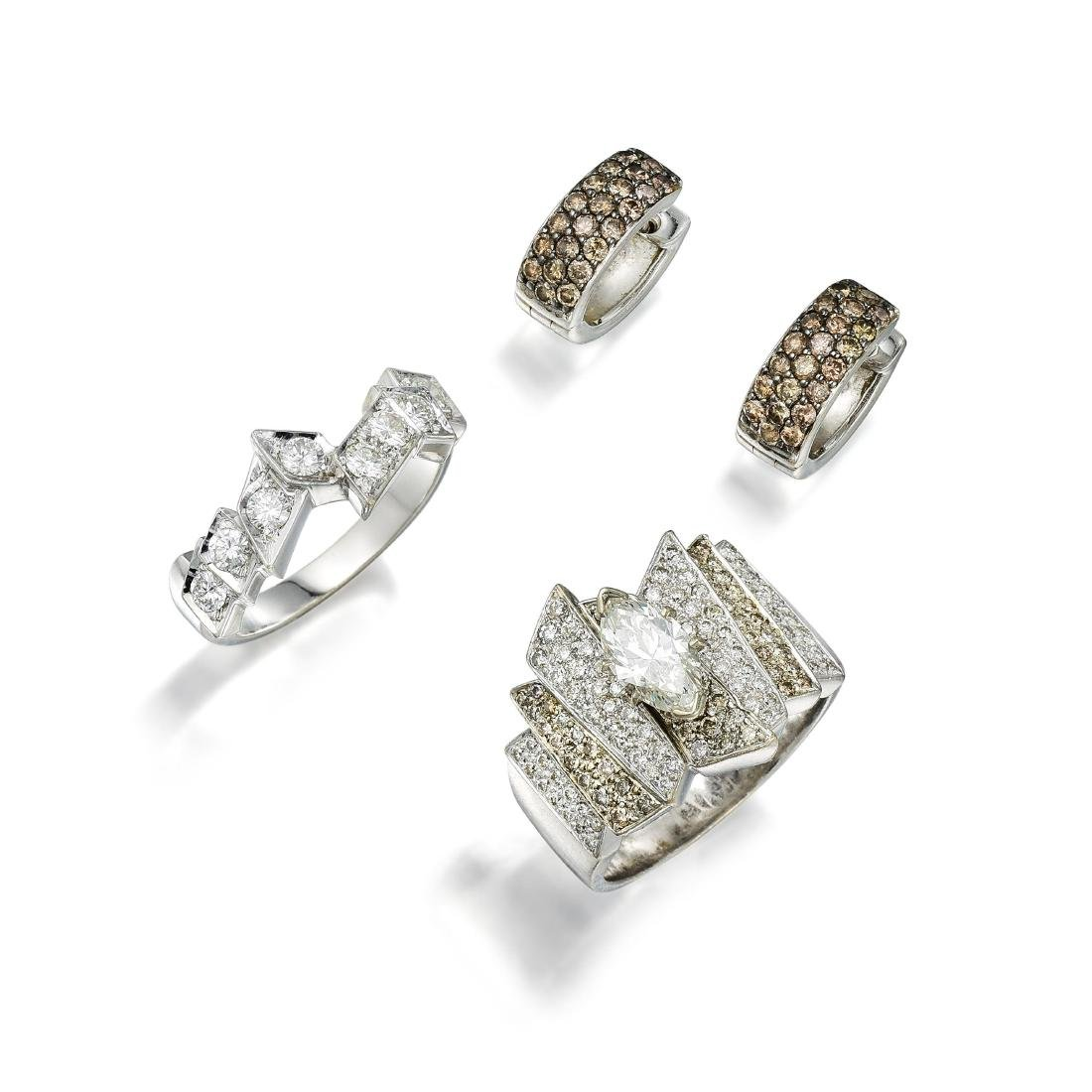 A Diamond Ring Set and Earrings