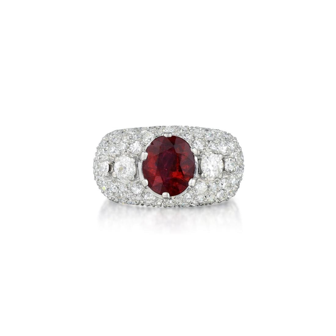 A Platinum Ruby and Diamond Ring