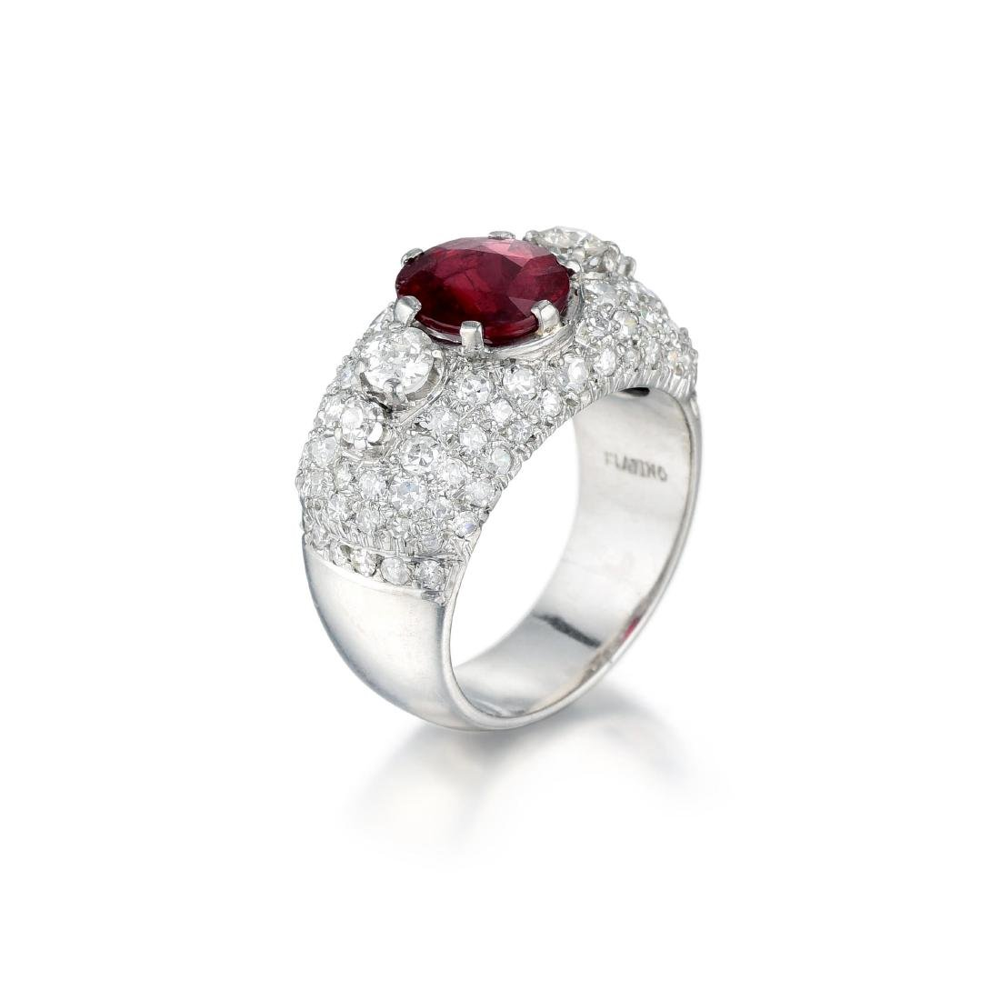 A Platinum Ruby and Diamond Ring - 2