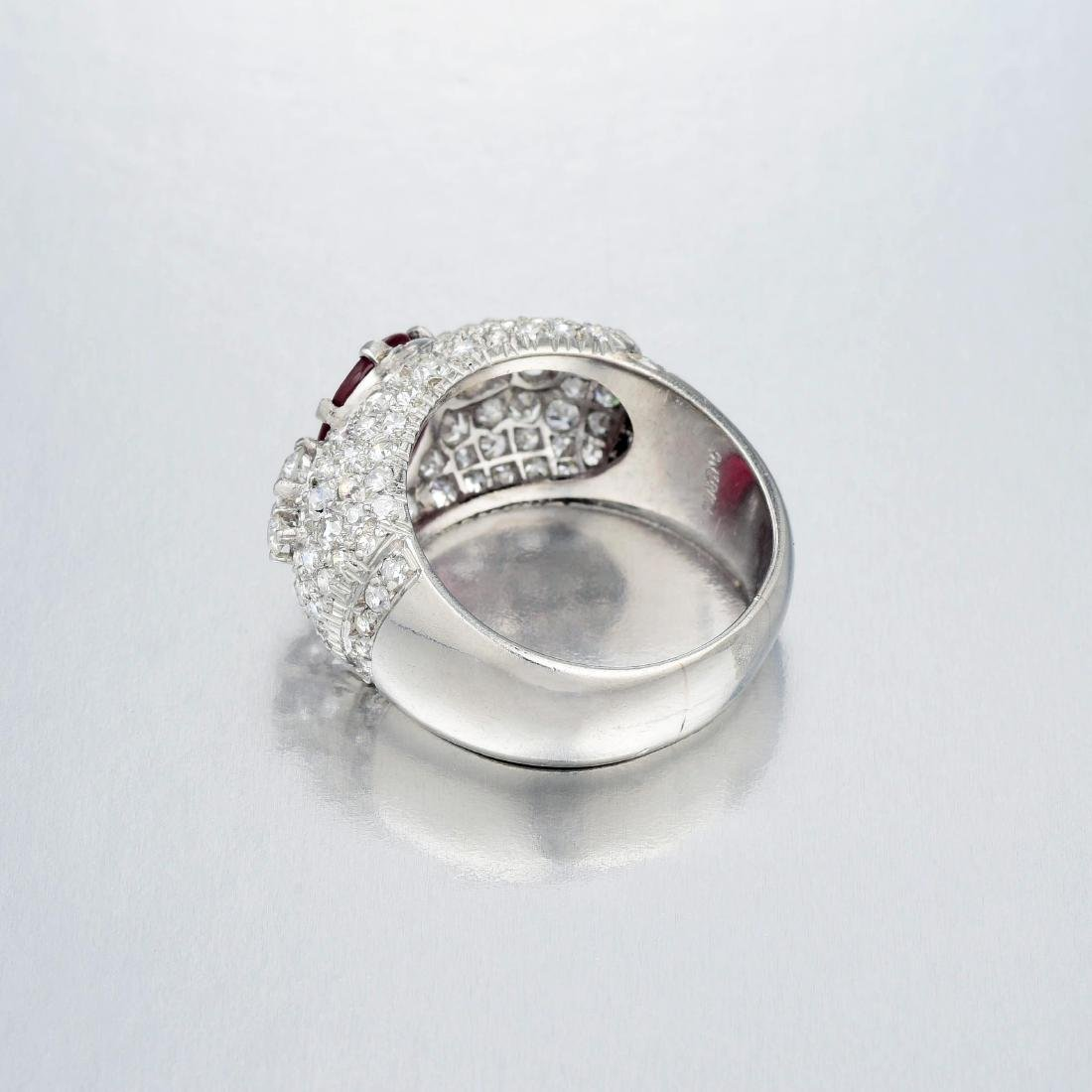 A Platinum Ruby and Diamond Ring - 3