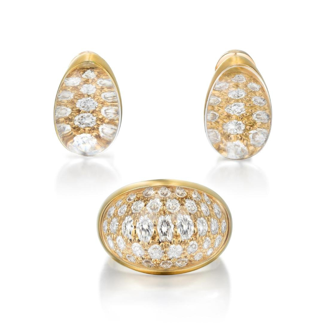 Cartier Rock Crystal and Diamond Earring and Ring Set,