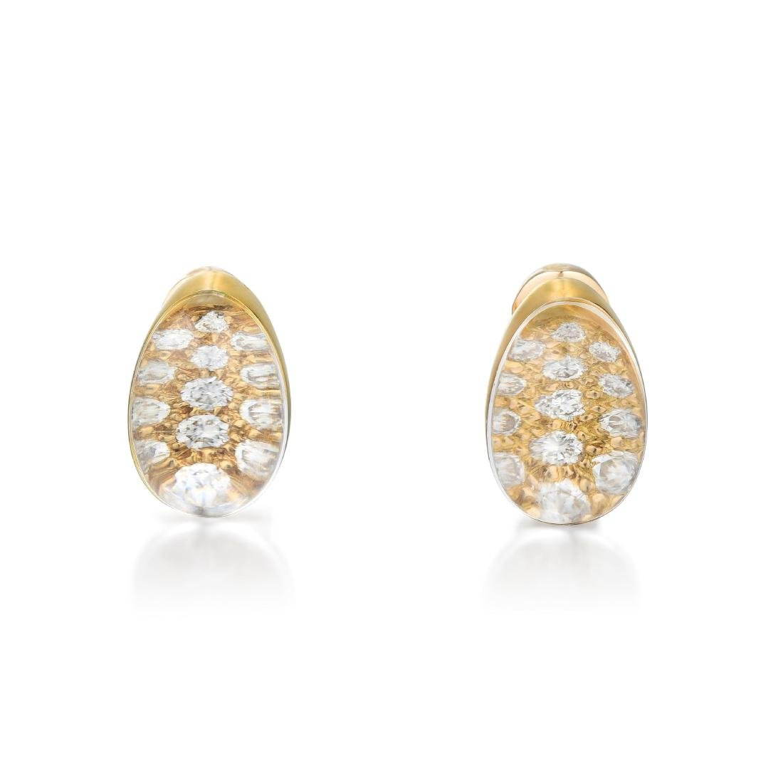 Cartier Rock Crystal and Diamond Earring and Ring Set, - 4