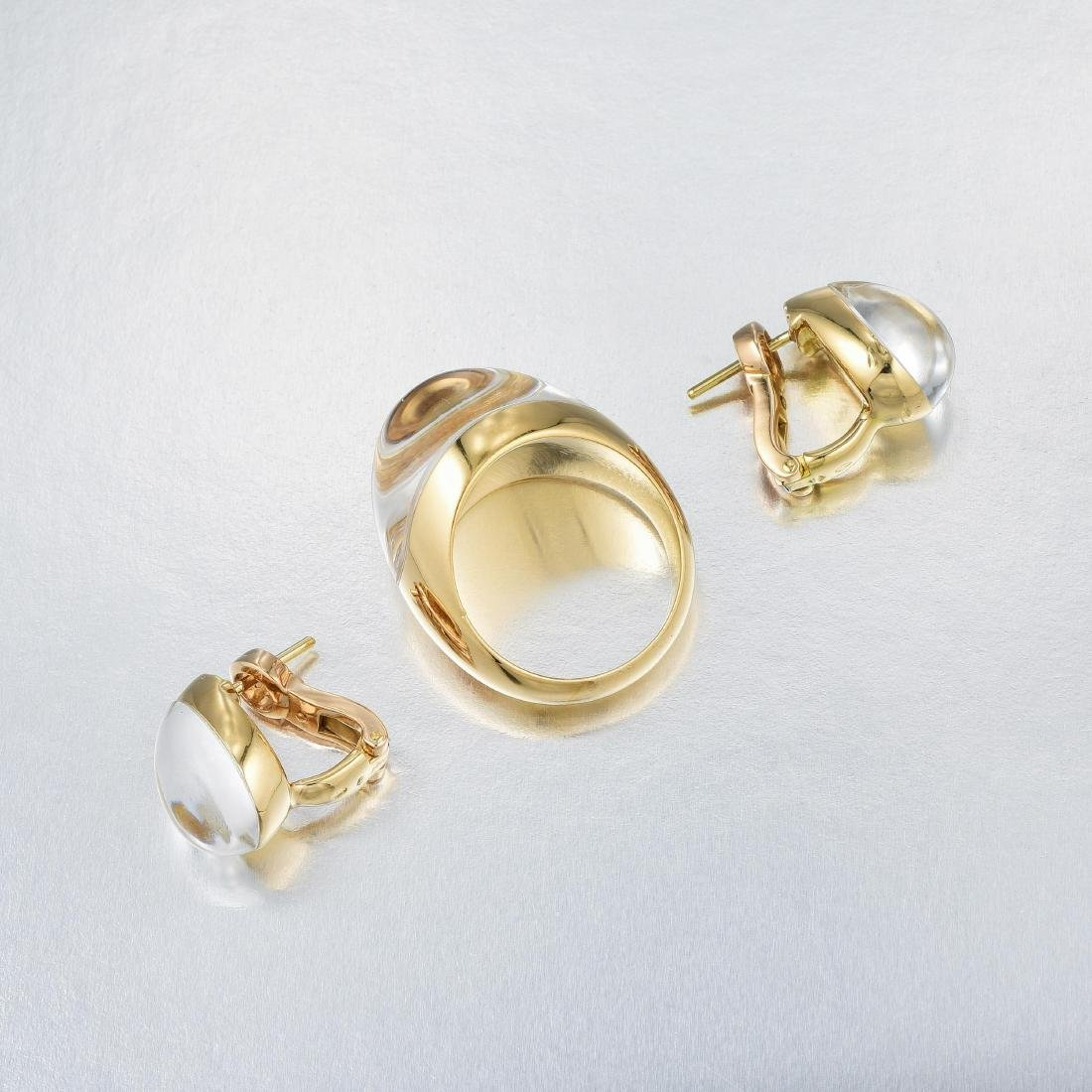 Cartier Rock Crystal and Diamond Earring and Ring Set, - 5