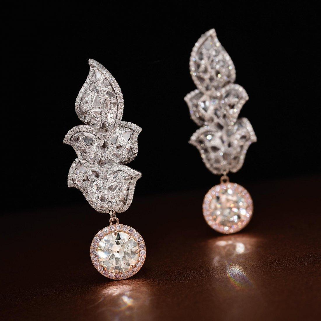 A Pair of Old European-Cut Diamond Earrings