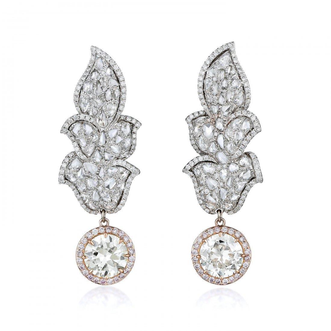 A Pair of Old European-Cut Diamond Earrings - 2