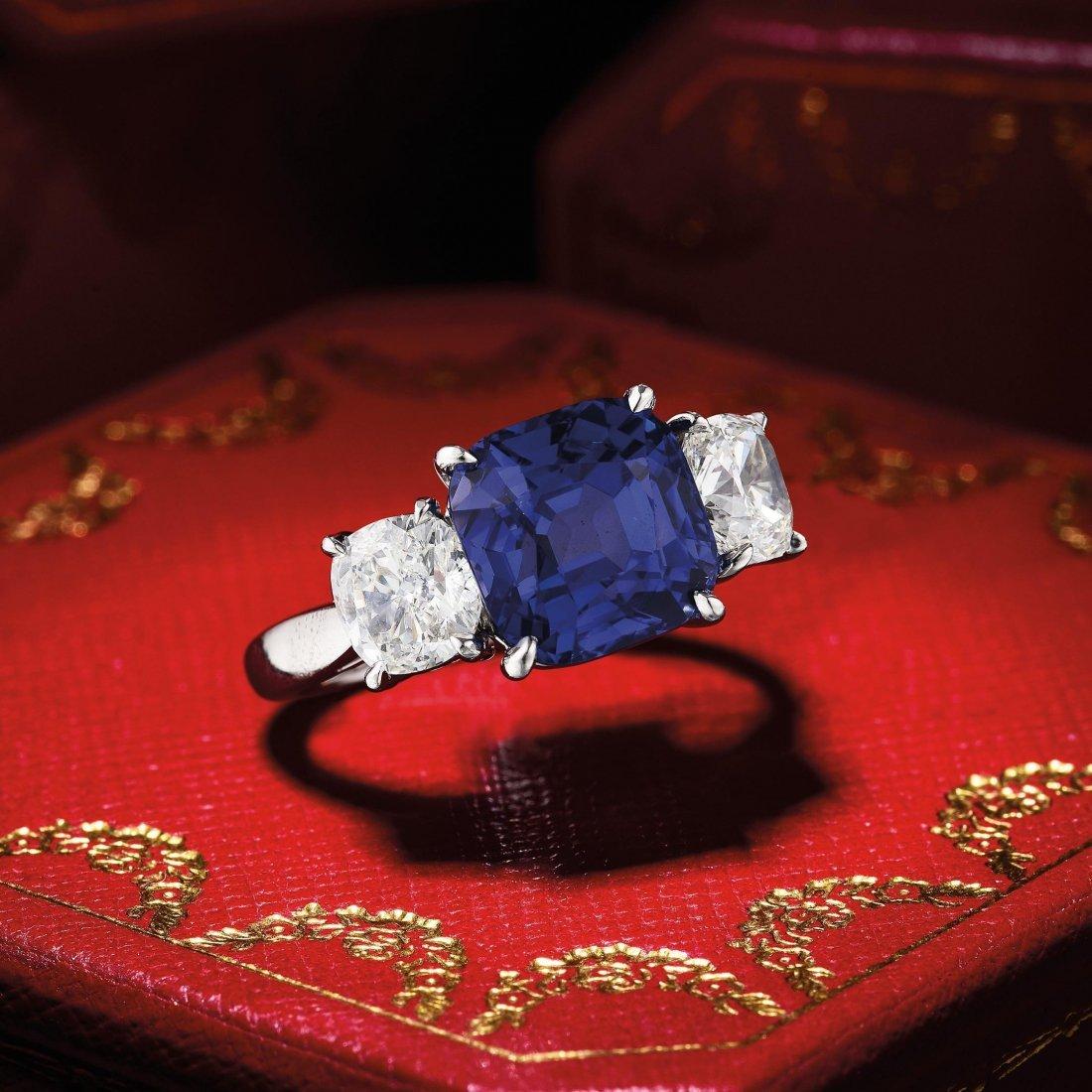 Cartier 6.69-Carat Burmese Sapphire and Diamond Ring