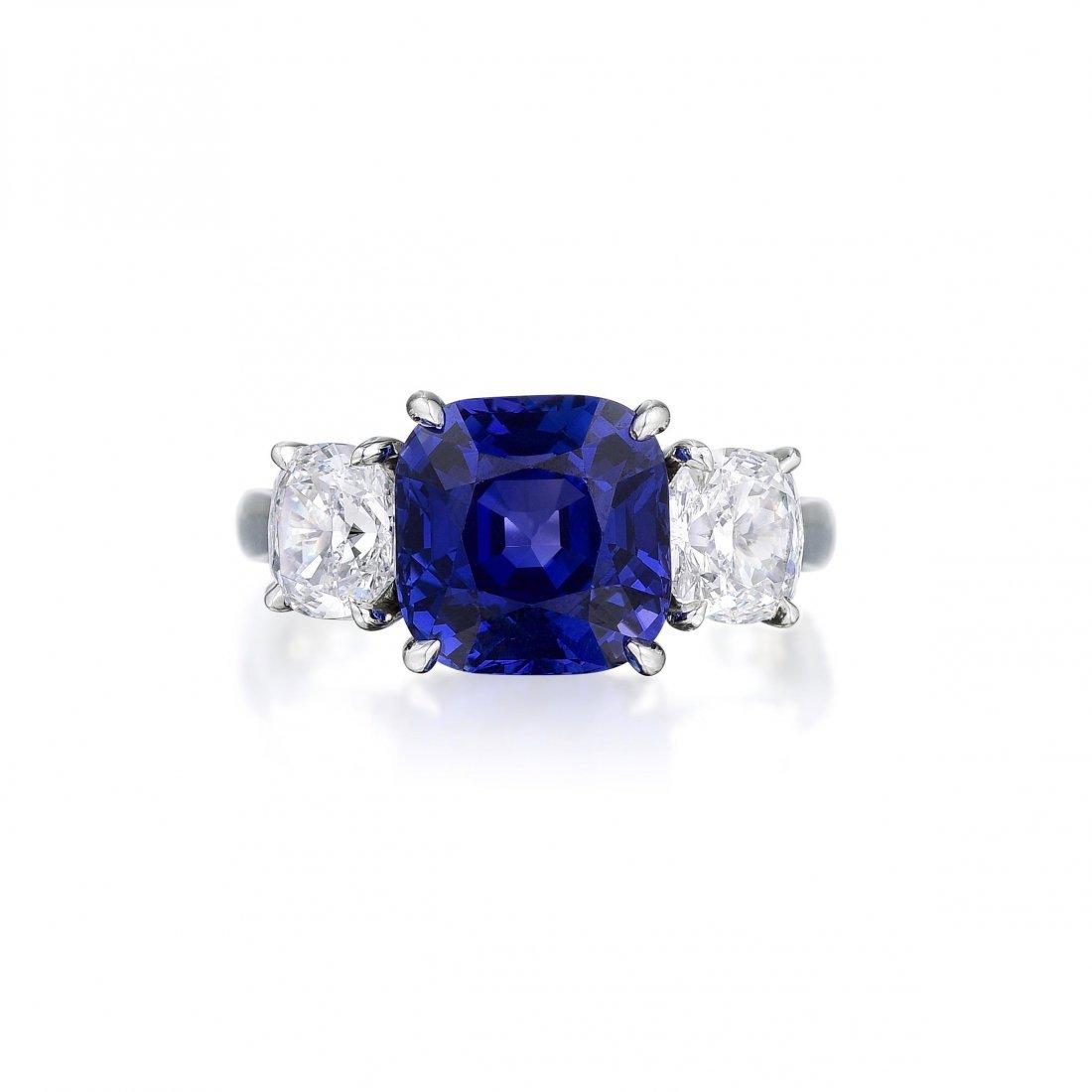 Cartier 6.69-Carat Burmese Sapphire and Diamond Ring - 2