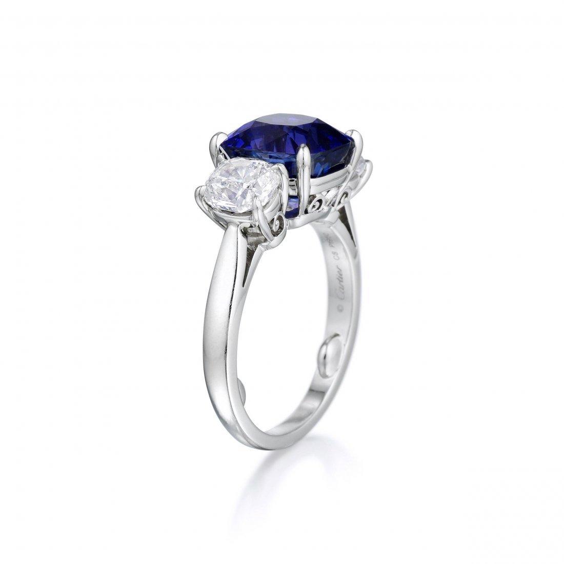 Cartier 6.69-Carat Burmese Sapphire and Diamond Ring - 3