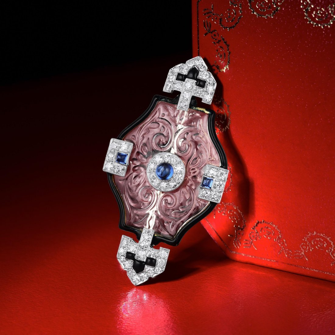 Cartier Art Deco Rock Crystal and Diamond Brooch