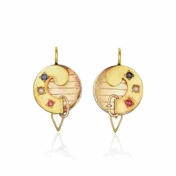 A Pair of Multi-Colored Gemstone Earrings