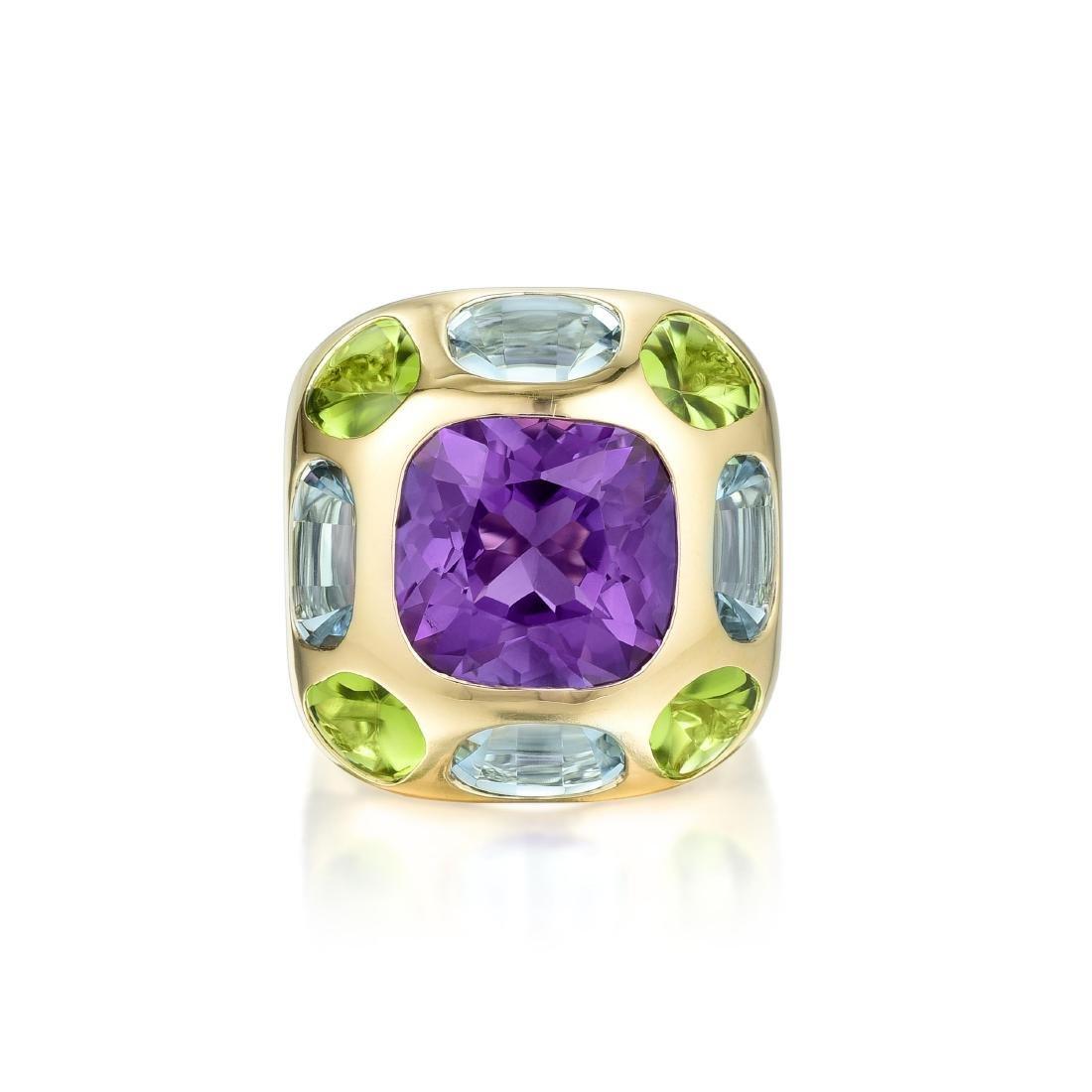 Chanel Amethyst Peridot and Aquamarine Ring