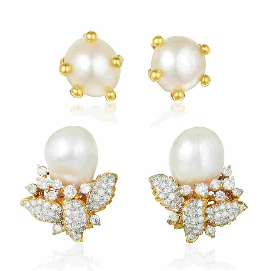 A Group of Baroque Cultured Pearl Earrings