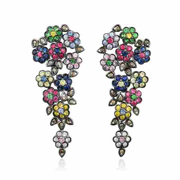 A Pair of Multi-Colored Gemstone and Diamond Earrings