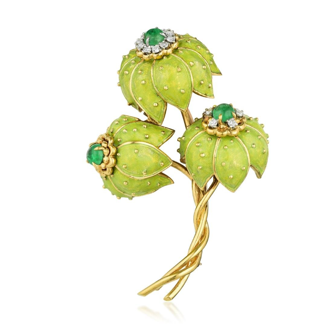 Tiffany & Co. Emerald Diamond and Enamel Chrysanthemum