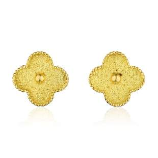 Van Cleef & Arpels Gold Vintage Alhambra Earclips,