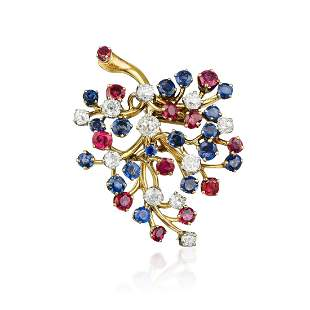 Van Cleef & Arpels Ruby Sapphire and Diamond Capillaire