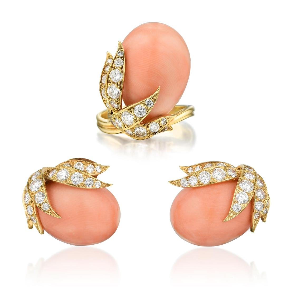A Coral and Diamond Ring and Earrings Set, French