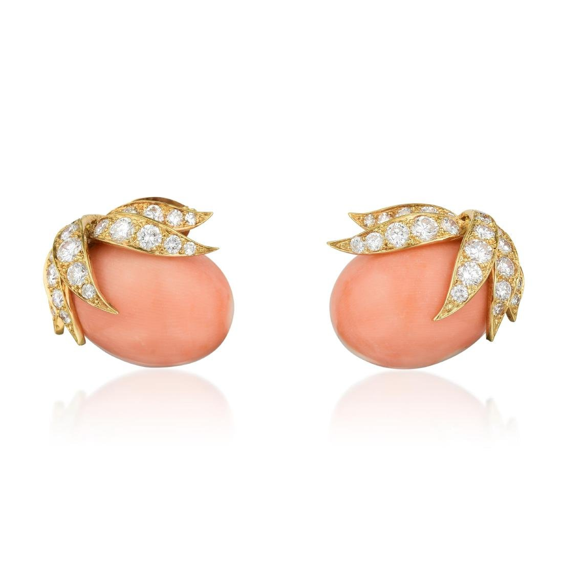 A Coral and Diamond Ring and Earrings Set, French - 2
