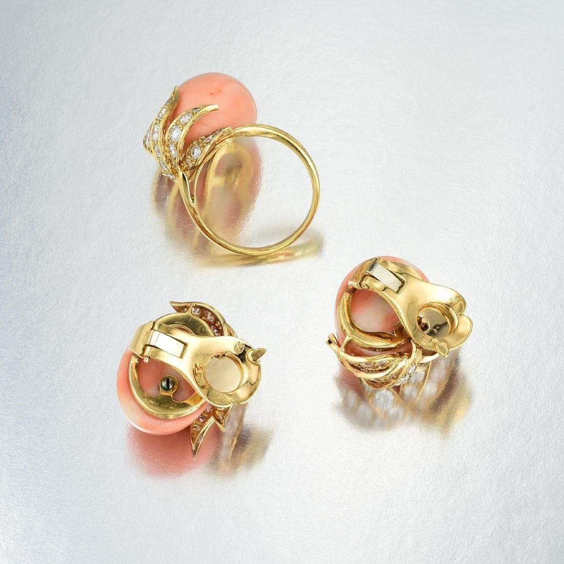 A Coral and Diamond Ring and Earrings Set, French - 4