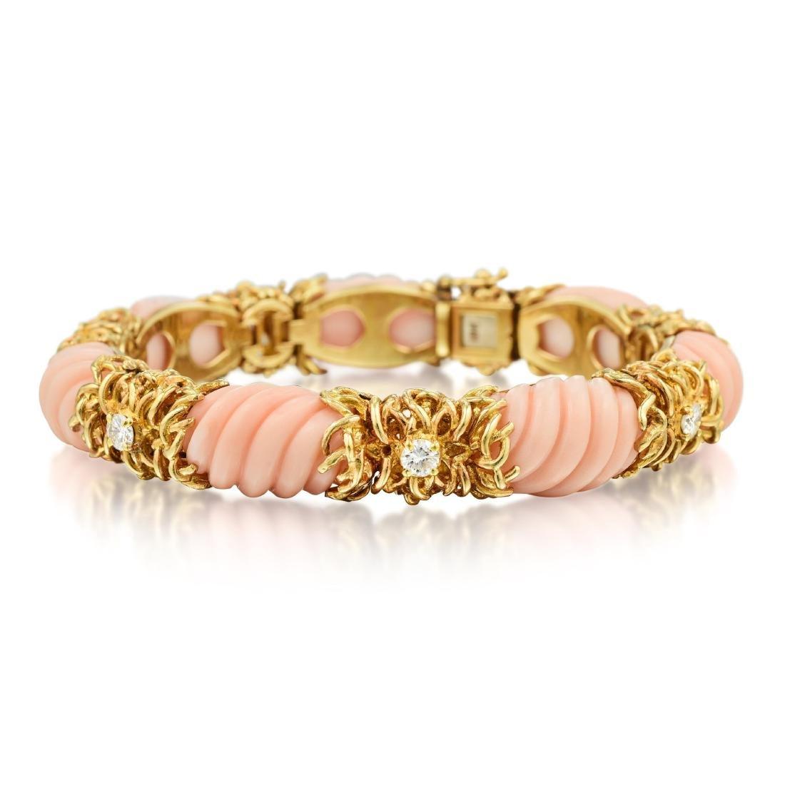 A Coral and Diamond Bracelet