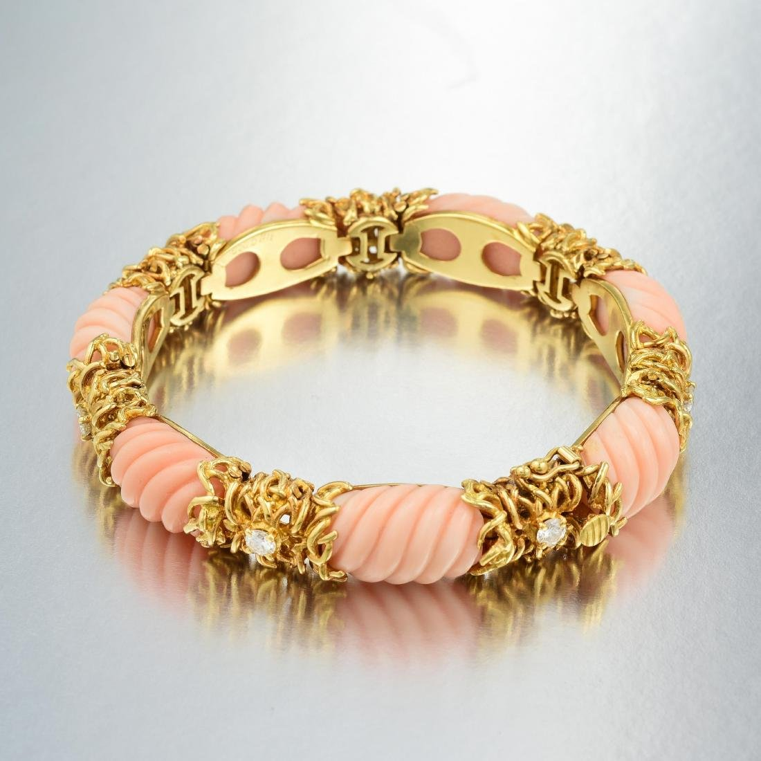 A Coral and Diamond Bracelet - 2
