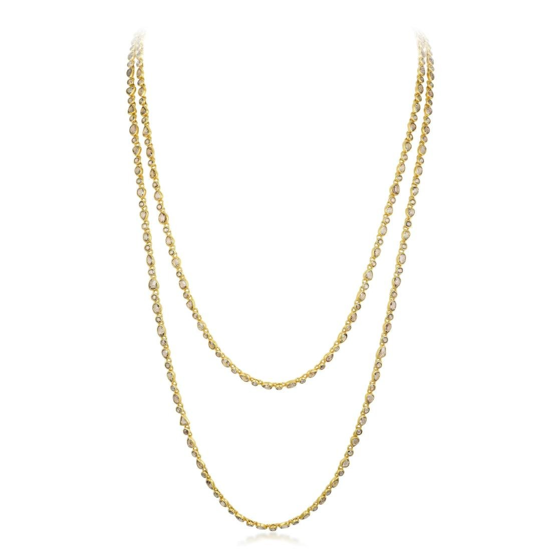 Indian Gold and Rose-Cut Diamond Long Chain Necklace