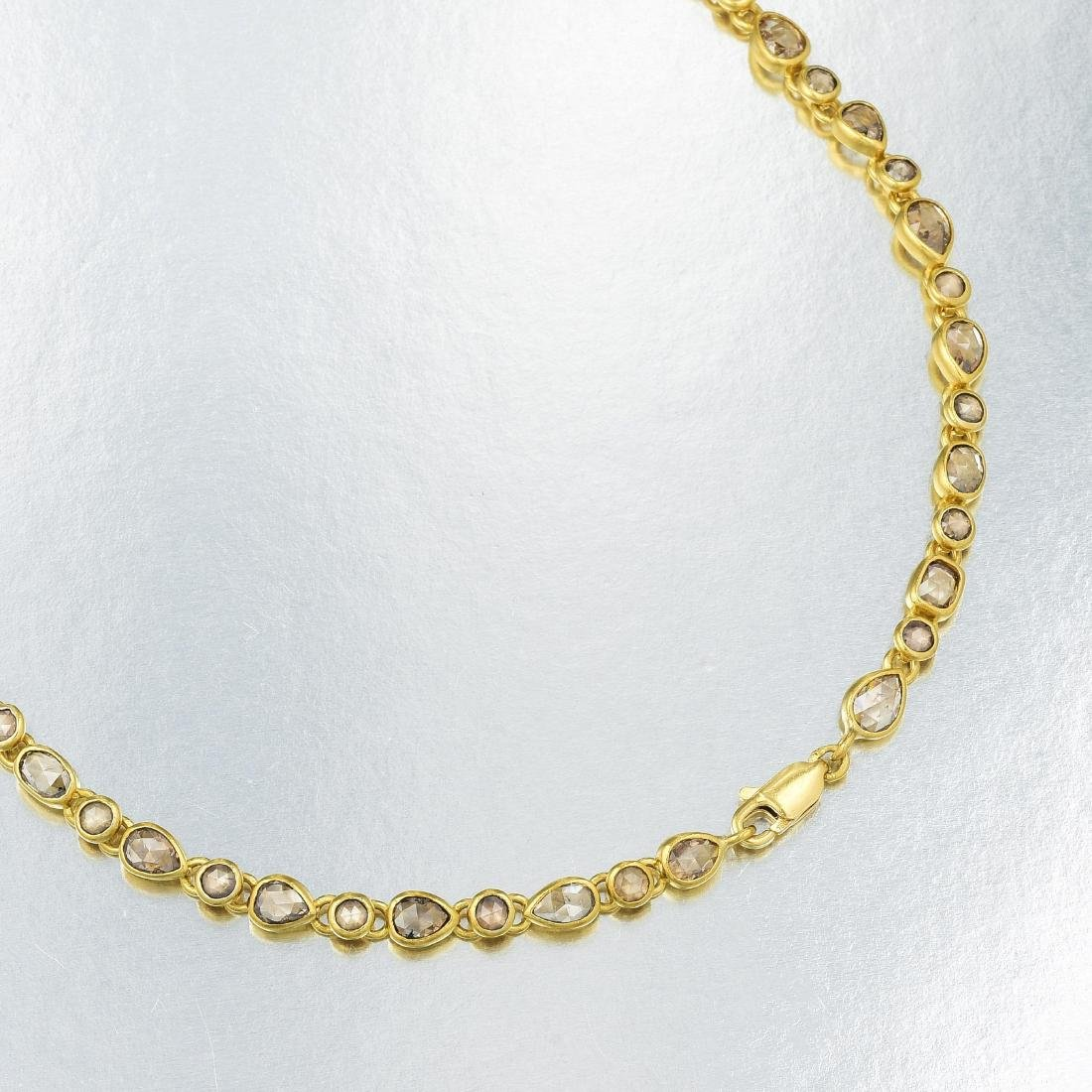 Indian Gold and Rose-Cut Diamond Long Chain Necklace - 3