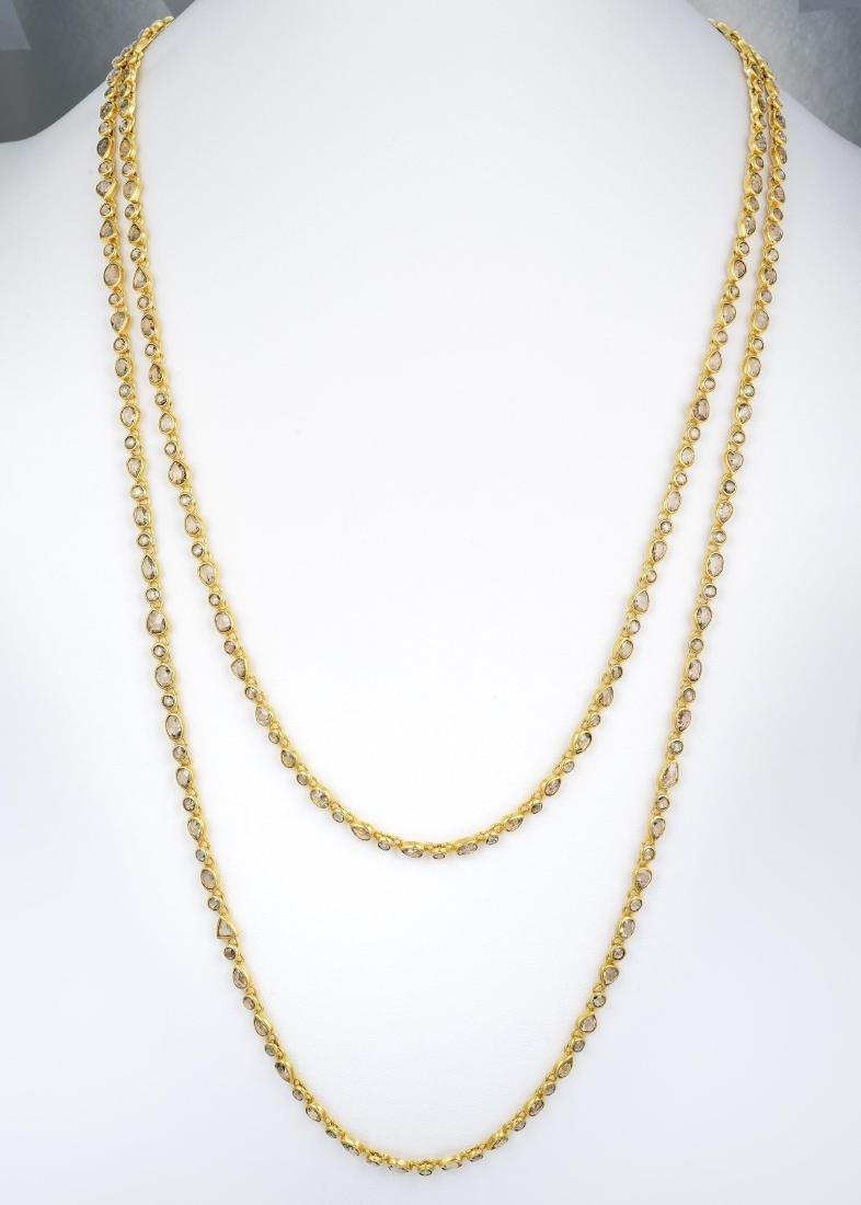 Indian Gold and Rose-Cut Diamond Long Chain Necklace - 4
