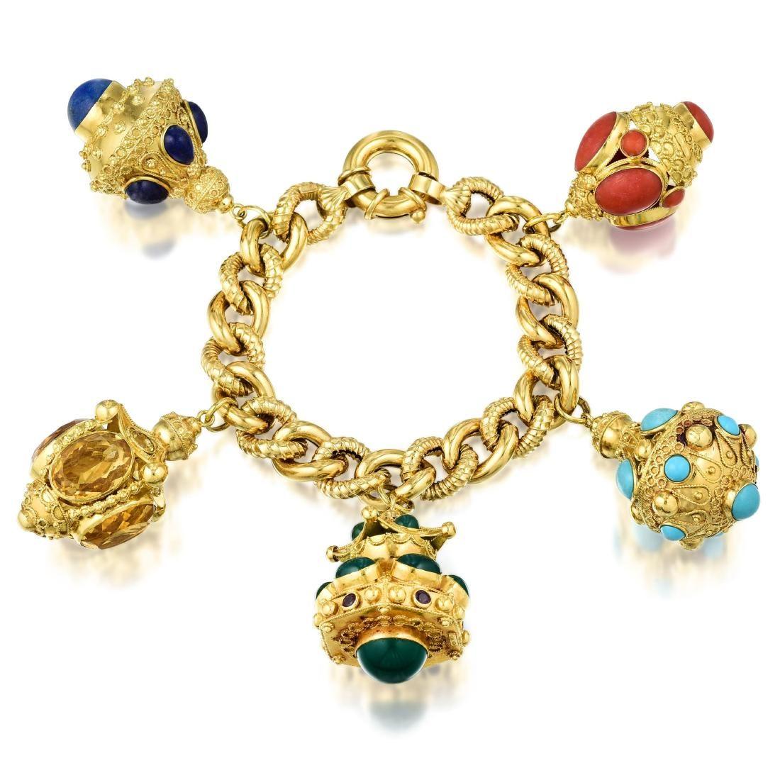 A Multi-Gemstone Charm Bracelet, Italian