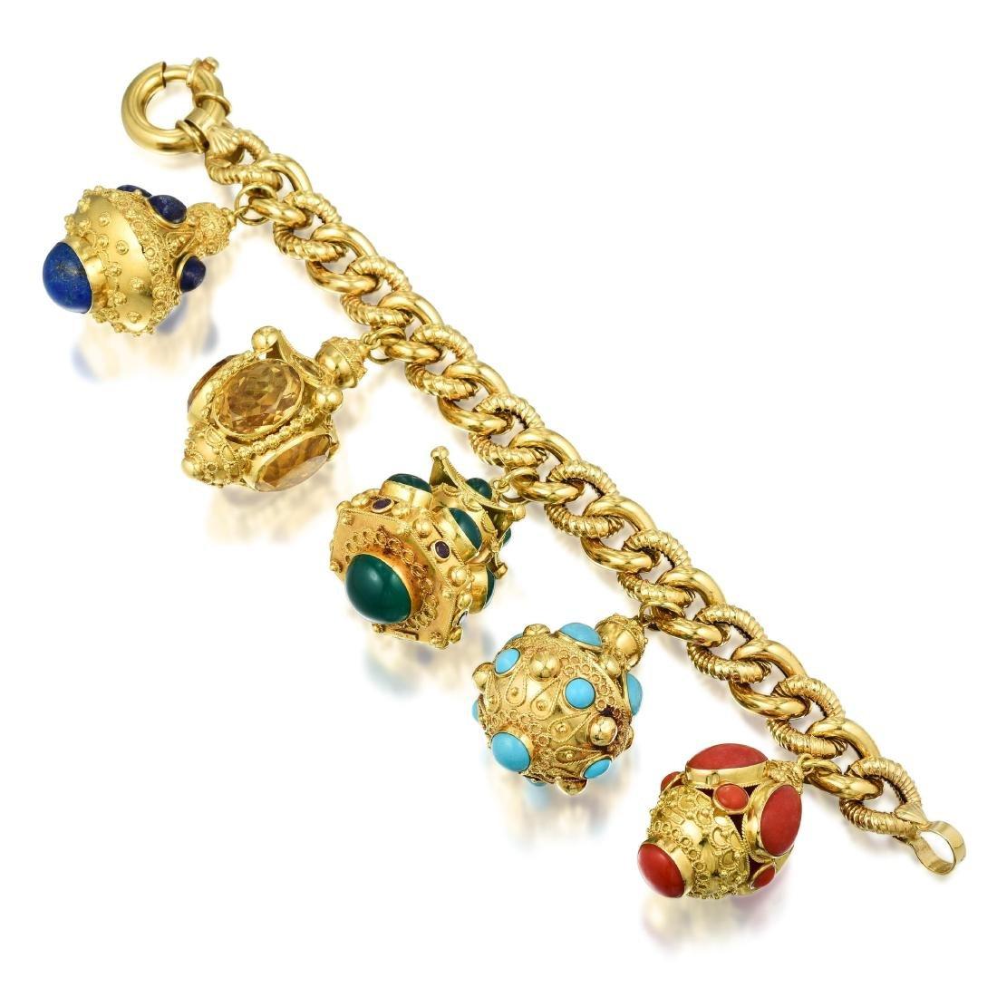 A Multi-Gemstone Charm Bracelet, Italian - 2