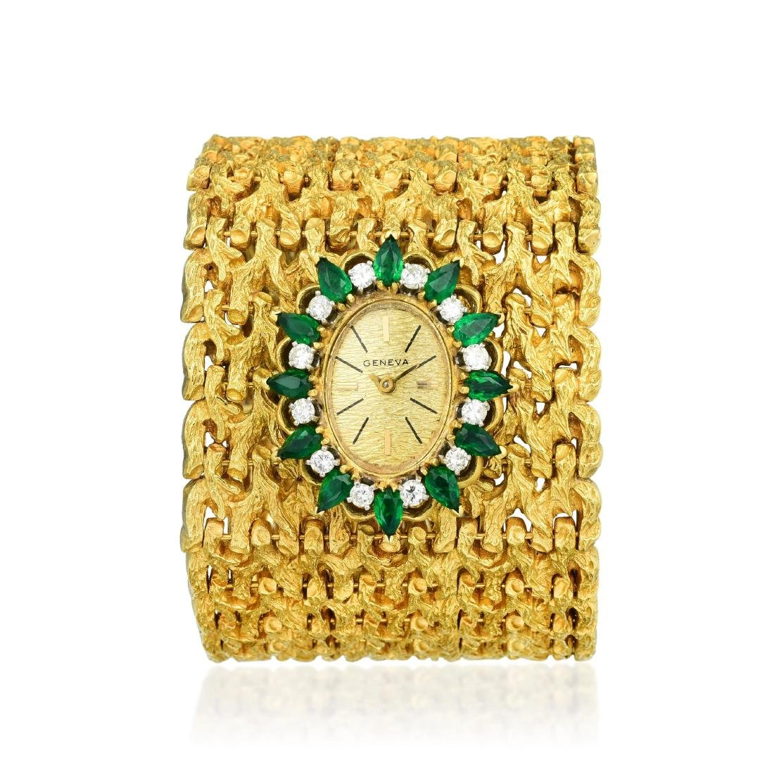 A Wide Emerald and Diamond Watch Bracelet