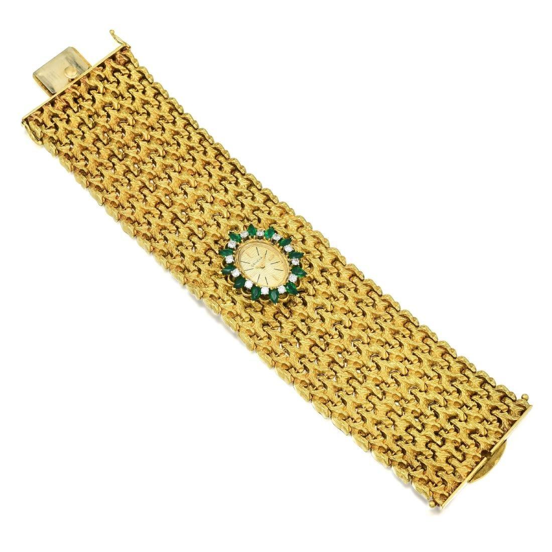 A Wide Emerald and Diamond Watch Bracelet - 2