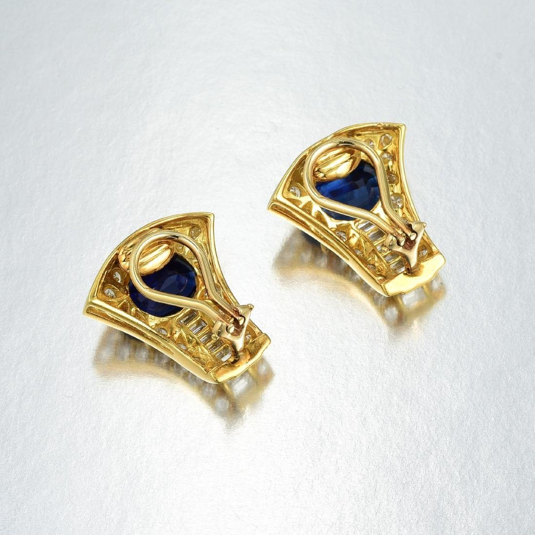 A Pair of Sapphire and Diamond Earclips - 2