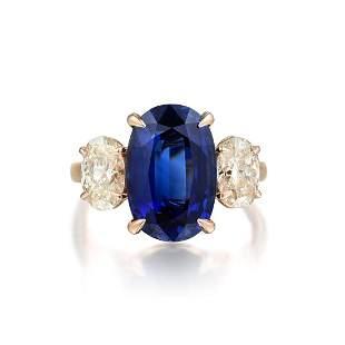 A 5.60-Carat Sapphire and Diamond Ring