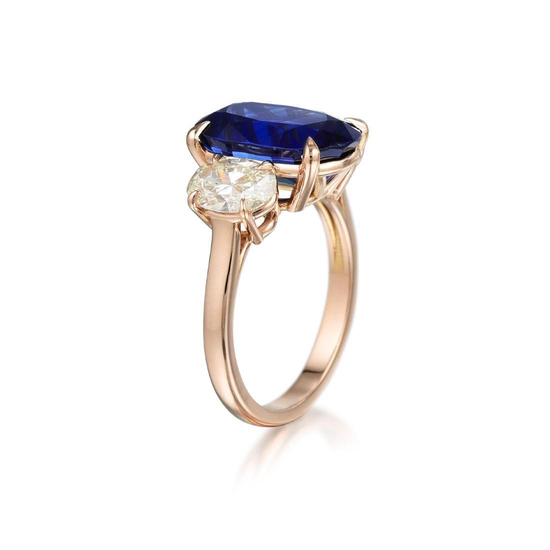 A 5.60-Carat Sapphire and Diamond Ring - 2