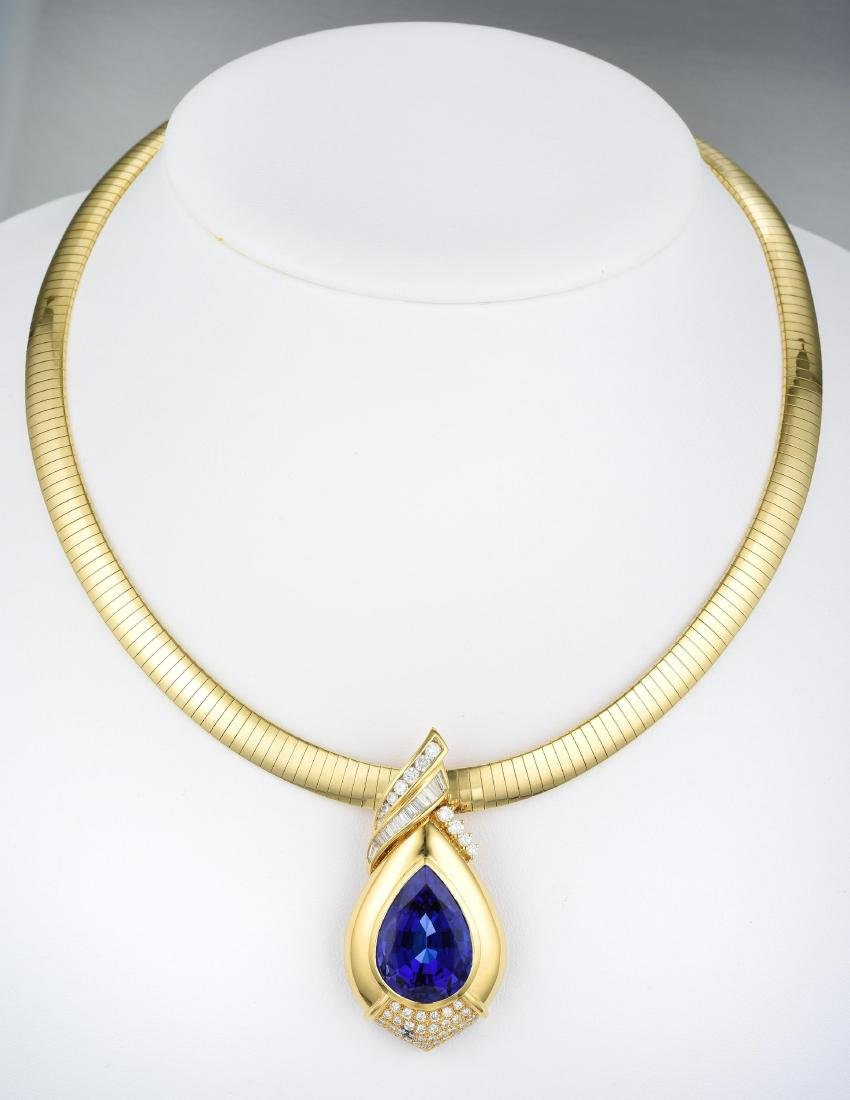 A Large Pear-Shaped Tanzanite and Diamond Pendant - 3