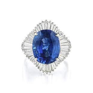 A 10.24-Carat Sapphire and Diamond Ballerina Ring