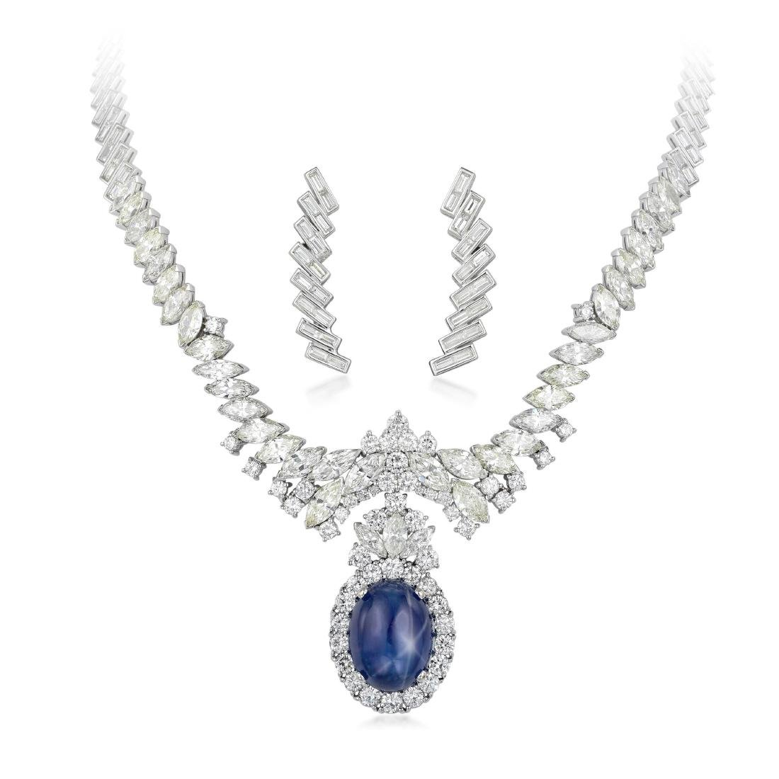 A Star Sapphire and Diamond Necklace and Earrings Set