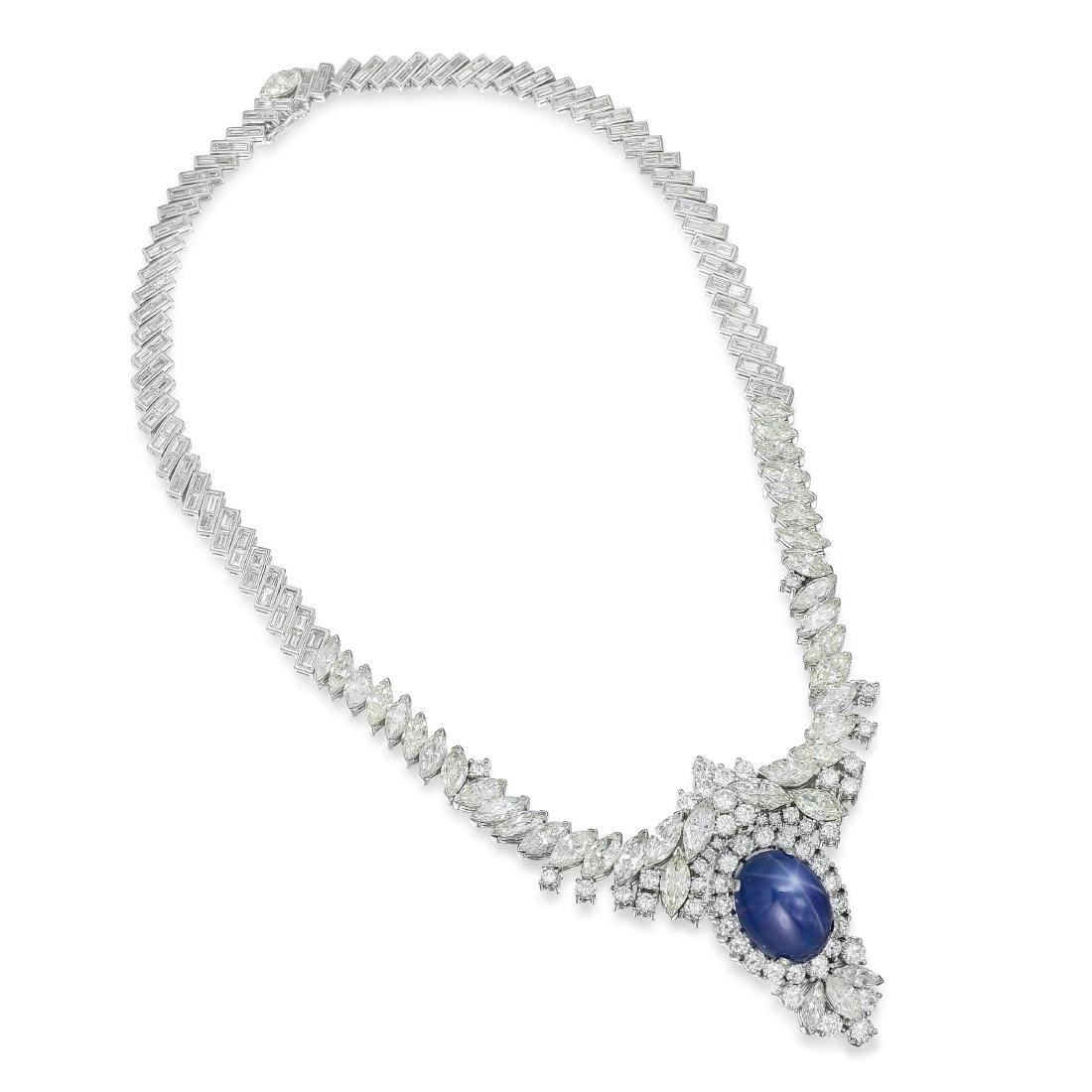 A Star Sapphire and Diamond Necklace and Earrings Set - 2
