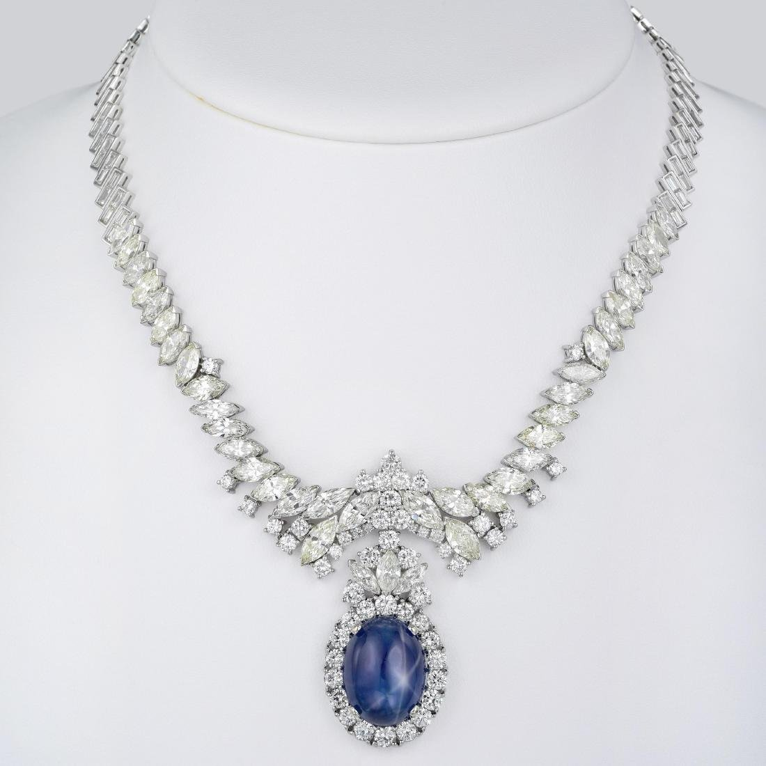 A Star Sapphire and Diamond Necklace and Earrings Set - 5