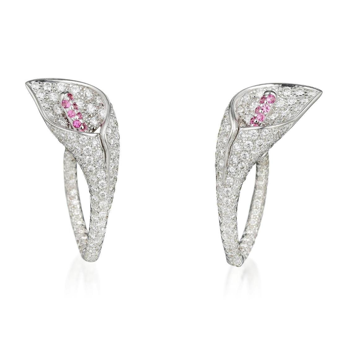 Asprey Diamond and Pink Sapphire Calla Lily Earrings