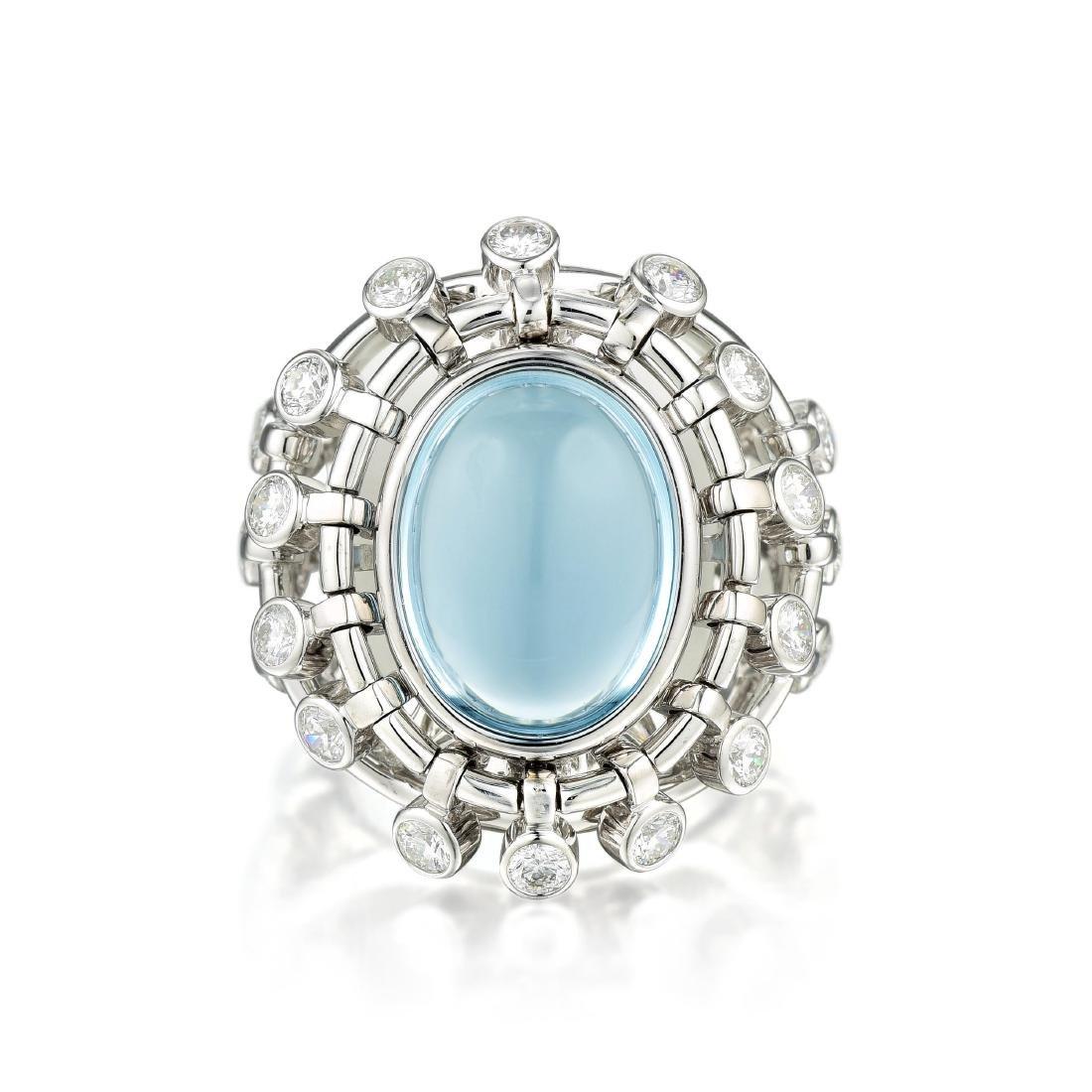 Christian Dior Sultane Aquamarine and Diamond Ring