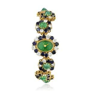 Bulova Sapphire Emerald and Diamond Watch