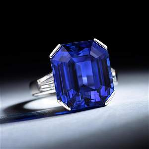 Art Deco 21.61-Carat Unheated Ceylon Sapphire and