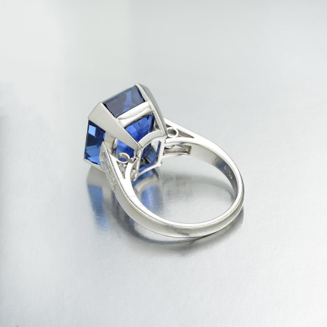Art Deco 21.61-Carat Unheated Ceylon Sapphire and - 4