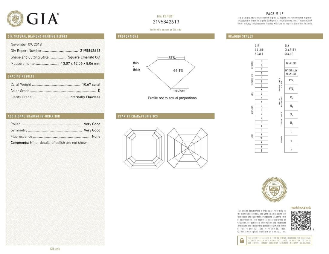 A 10.67-Carat D IF Asscher-Cut Diamond Ring - 5