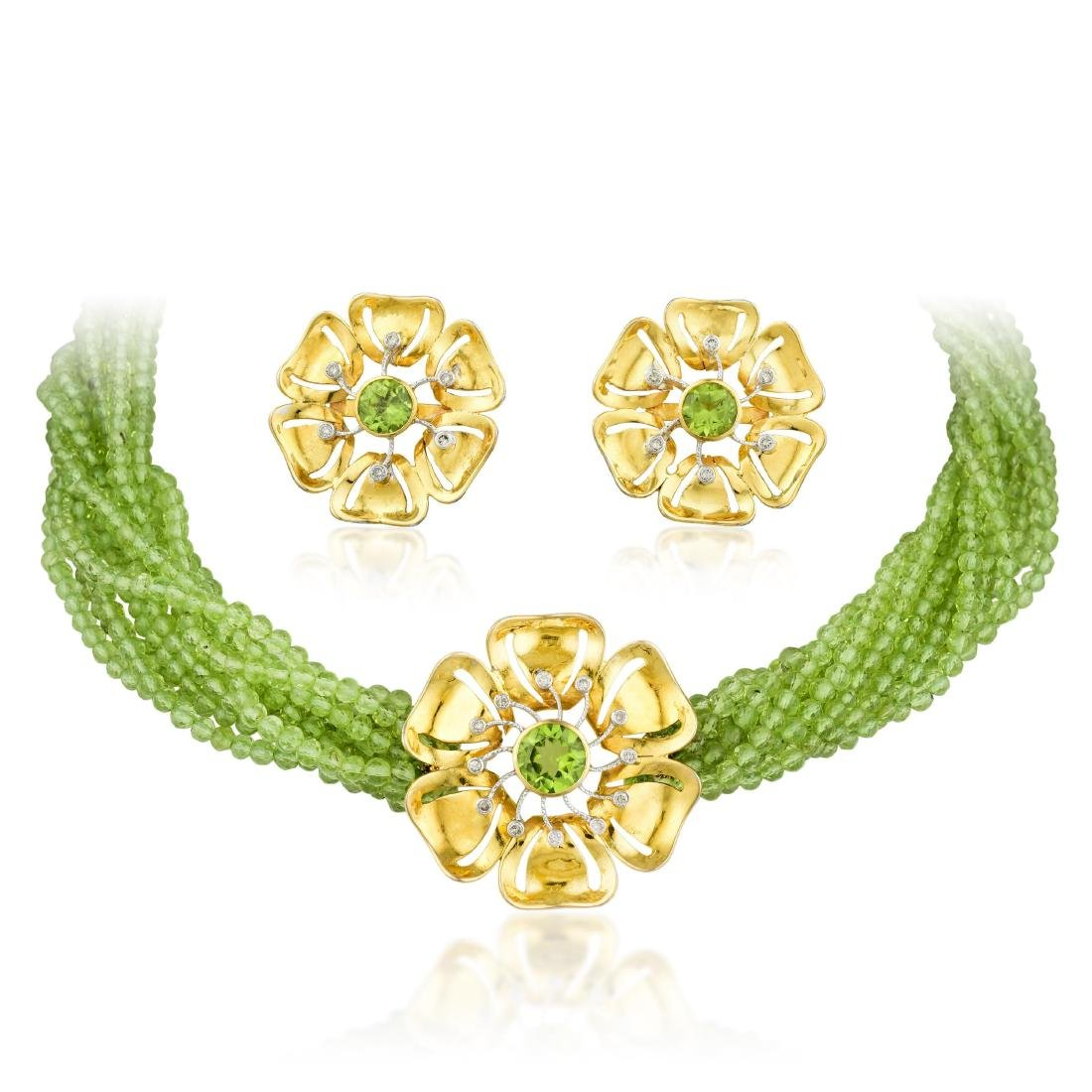 A Peridot Necklace and Earrings Set