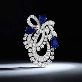 A 7.04-Carat Unheated Sapphire and Diamond Brooch