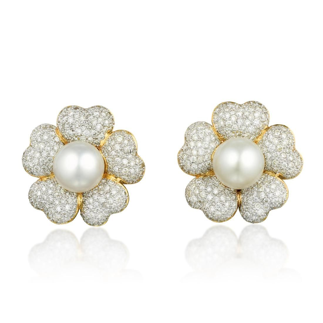 A Pair of Cultured Pearl and Diamond Flower Earclips